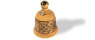 Campana gialla in ceramica con fregio a losanghe