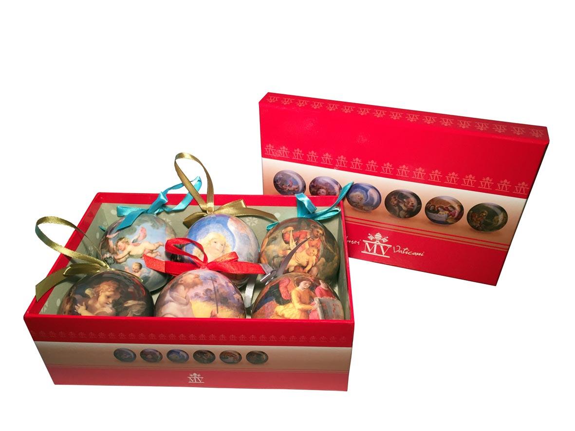 Confezione di decorazioni natalizie – scatola con 6 palline