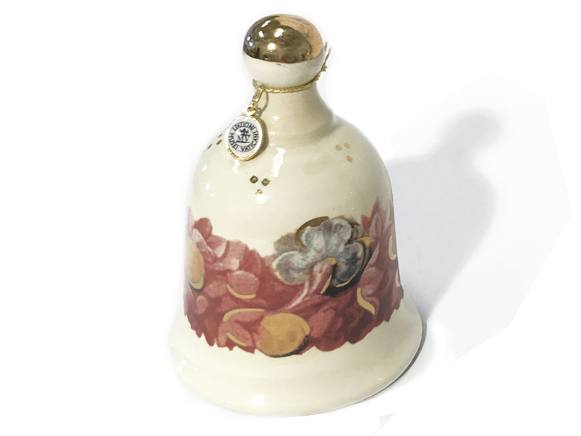Campana in ceramica gialla con fregio floreale