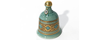 Campana verde in ceramica con fregio a losanghe